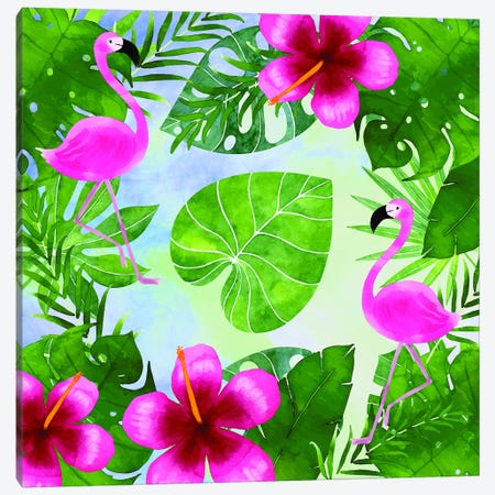 Tropical Life Flamingo I Canvas Print #STD70} by Seven Trees Design Canvas Artwork