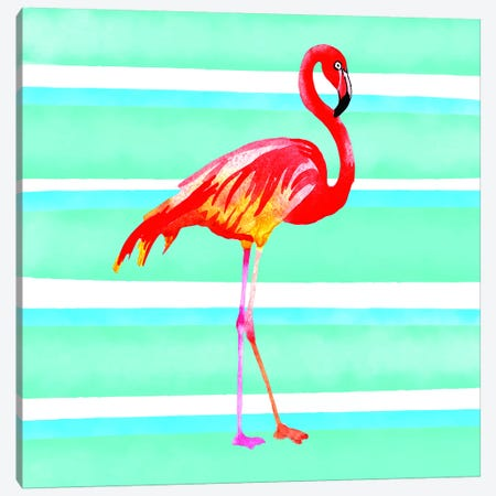 Tropical Life Flamingo II Canvas Print #STD71} by Seven Trees Design Canvas Art