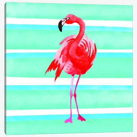 Tropical Life Flamingo III Canvas Print #STD72} by Seven Trees Design Canvas Wall Art