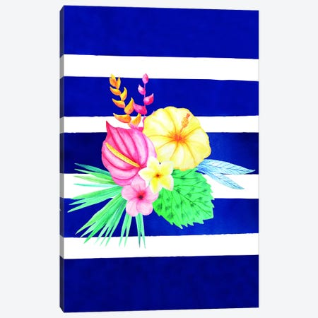 Watercolor Flowers Blue Lines I Canvas Print #STD74} by Seven Trees Design Art Print