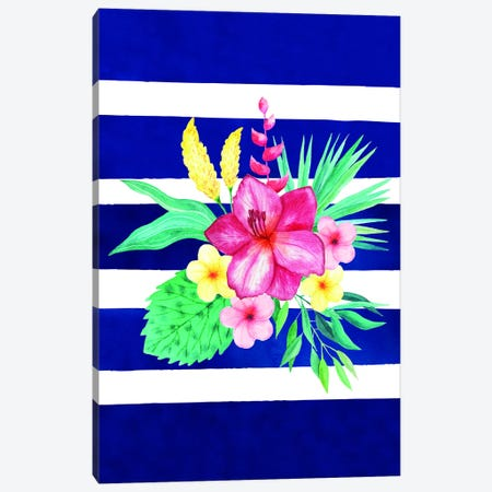 Watercolor Flowers Blue Lines II Canvas Print #STD75} by Seven Trees Design Canvas Print