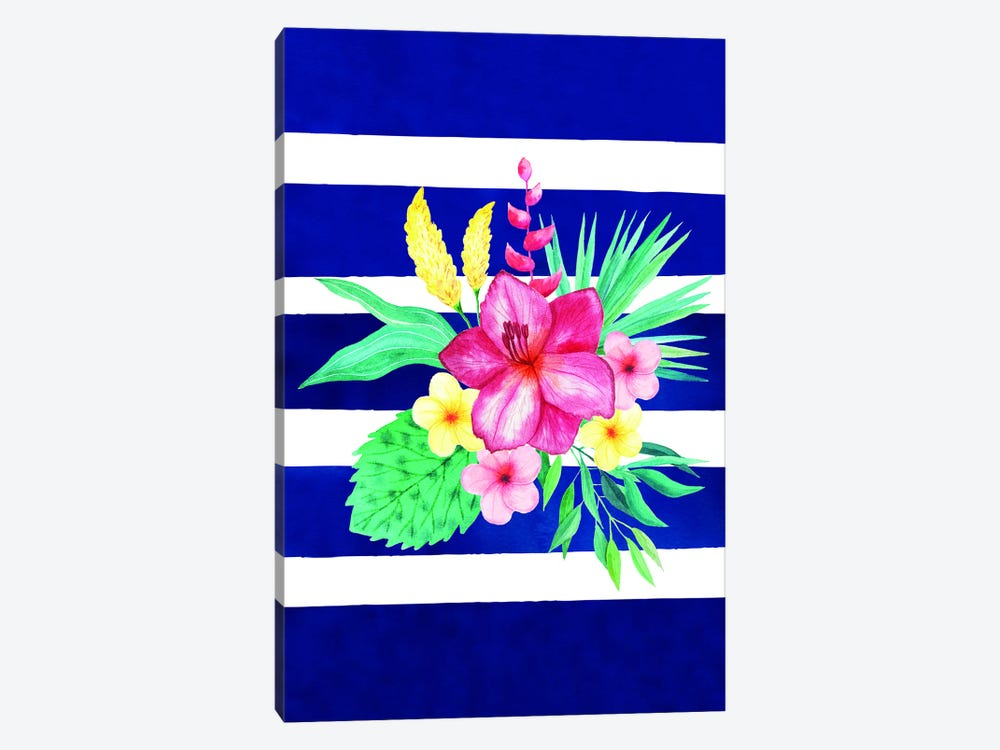 Watercolor Flowers Blue Lines II by Seven Trees Design 1-piece Canvas Print