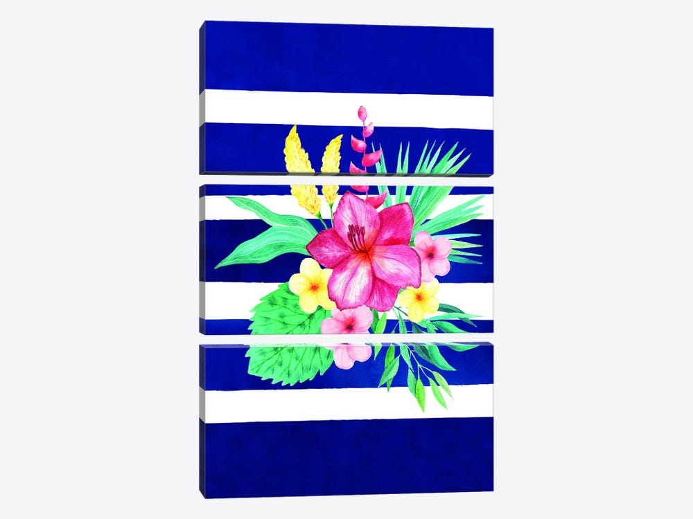 Watercolor Flowers Blue Lines II by Seven Trees Design 3-piece Canvas Print