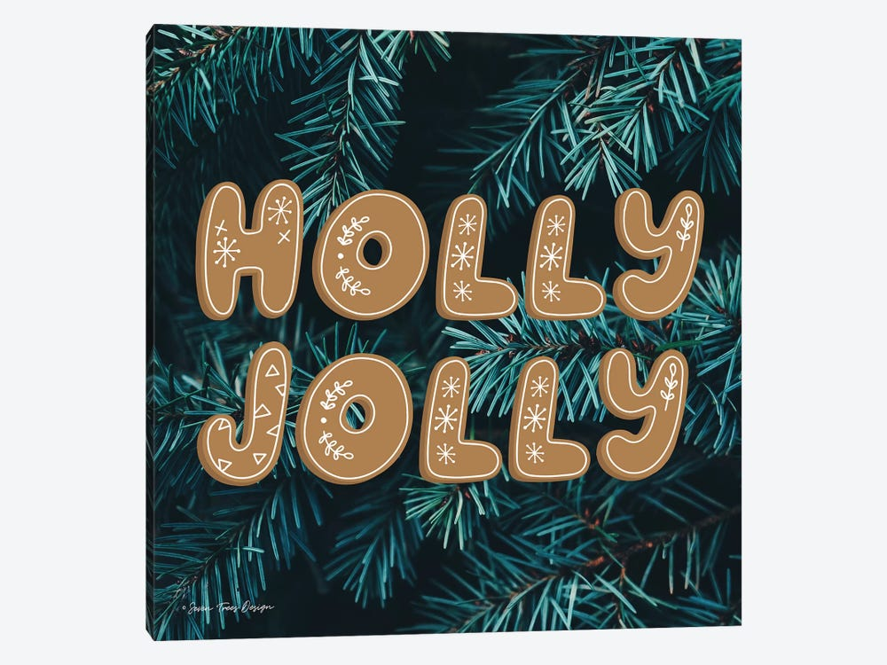 Gingerbread Holly Jolly   by Seven Trees Design 1-piece Canvas Artwork