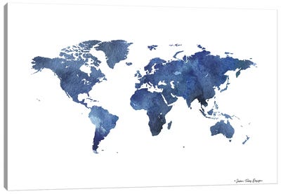 Watercolor World in Dark Blues Canvas Art Print
