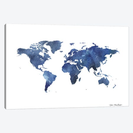 Watercolor World in Dark Blues Canvas Print #STD98} by Seven Trees Design Canvas Art