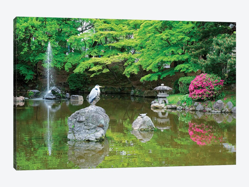 Heron In A Pond, Kyoto Prefecture, Japan by Shin Terada 1-piece Art Print