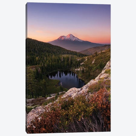 Mount Shasta, California - Between The Light, Vertical Canvas Print #STF113} by Stefan Hefele Canvas Wall Art