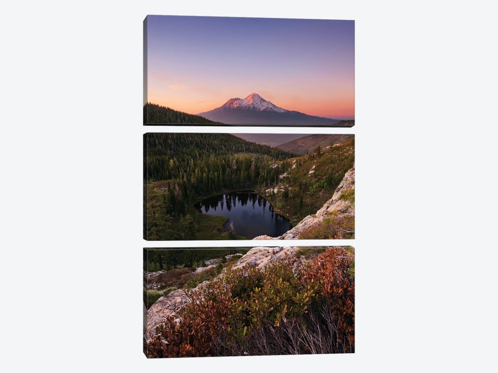 Mount Shasta, California - Between The Light, Vertical 3-piece Canvas Artwork