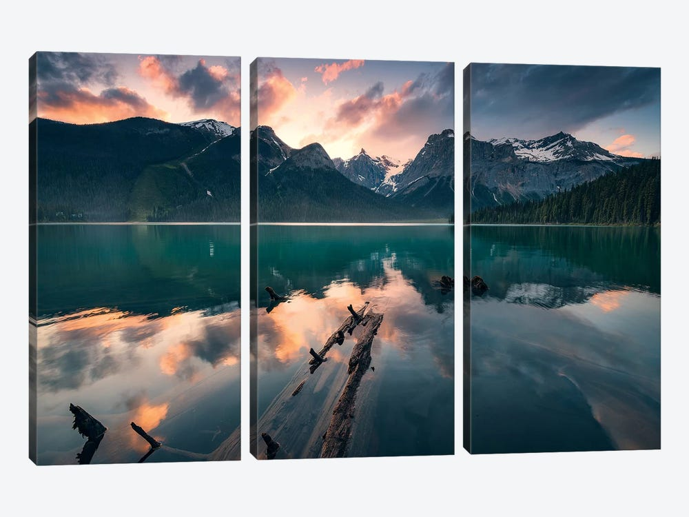 Burning Emerald by Stefan Hefele 3-piece Canvas Art Print