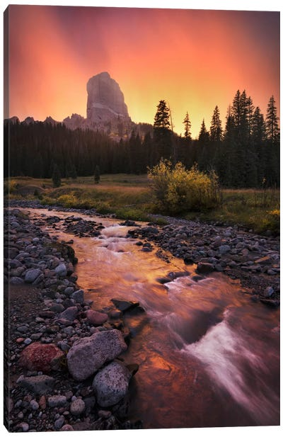 Chimney Mountain, Rocky Mountains Canvas Art Print
