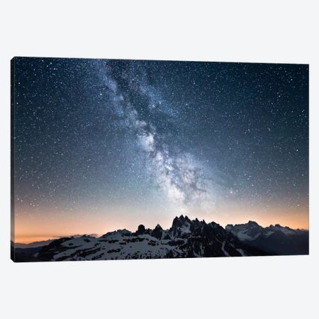 Dolomites With Milky Way Canvas Print #STF45} by Stefan Hefele Canvas Artwork