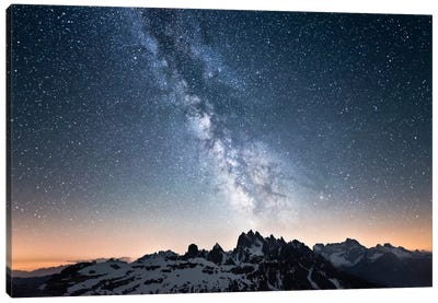 Dolomites With Milky Way Canvas Art Print