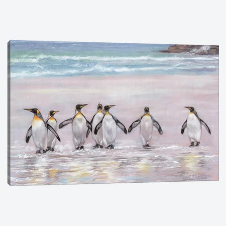 7 Penguins Canvas Print #STG216} by David Stribbling Canvas Art Print