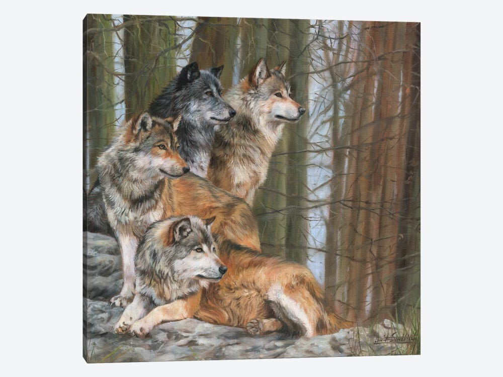 Four Wolves by David Stribbling 1-piece Canvas Wall Art