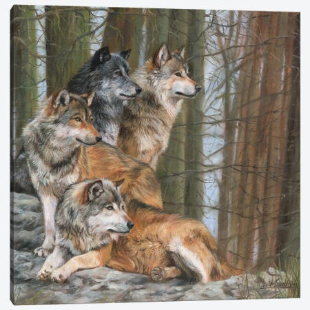 Four Wolves 3-Piece Canvas #STG36} by David Stribbling Canvas Artwork