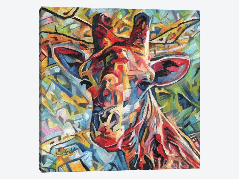 Giraffe Of Many Colours by David Stribbling 1-piece Canvas Print
