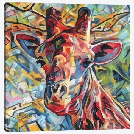 Giraffe Of Many Colours Canvas Print #STG37} by David Stribbling Canvas Artwork