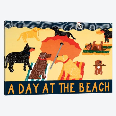 Day At The Beach Canvas Print #STH100} by Stephen Huneck Canvas Artwork