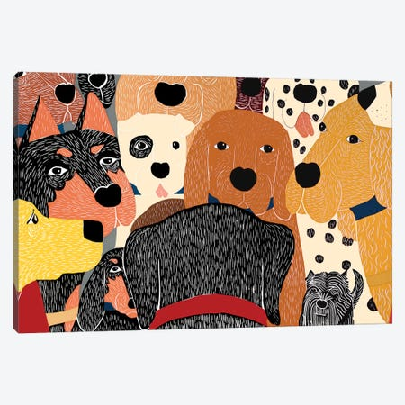 Dog Meeting Canvas Print #STH105} by Stephen Huneck Canvas Print