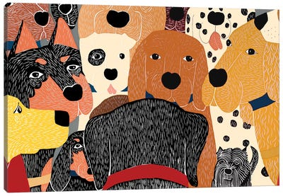 Dog Meeting Canvas Art Print