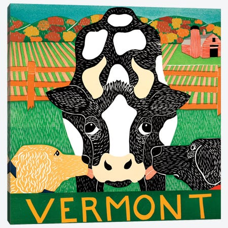 Bessie Vermont Autumn Canvas Print #STH124} by Stephen Huneck Canvas Art Print