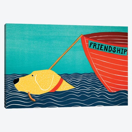 Boat Friendship, Yellow Canvas Print #STH126} by Stephen Huneck Art Print