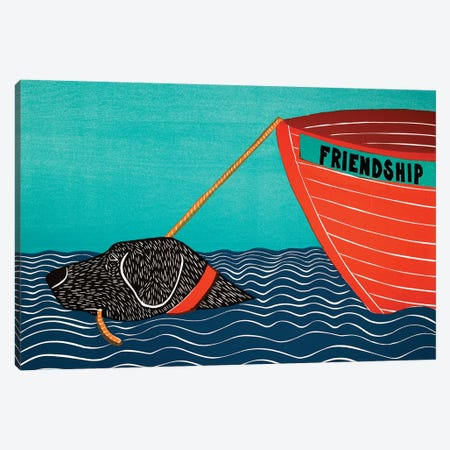 Boat Friendship, Black Canvas Print #STH127} by Stephen Huneck Canvas Art Print