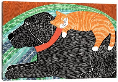 Catnap, Striped No Bubble Canvas Art Print