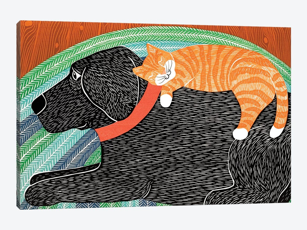 Catnap, Striped No Bubble by Stephen Huneck 1-piece Art Print