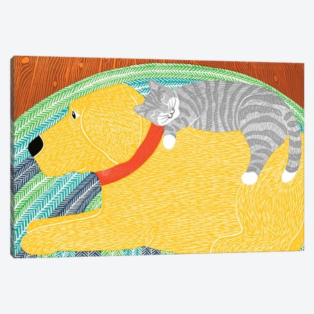 Catnap, Yellow Dog Gray Stripped Cat Canvas Print #STH129} by Stephen Huneck Canvas Wall Art