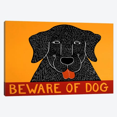 Beware of Dog Black Canvas Print #STH12} by Stephen Huneck Canvas Art
