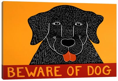 Beware of Dog Black Canvas Art Print
