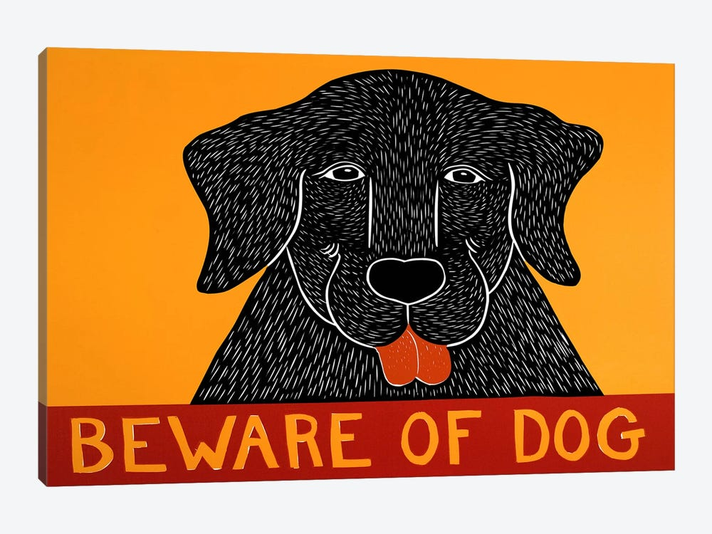 Beware of Dog Black by Stephen Huneck 1-piece Canvas Artwork