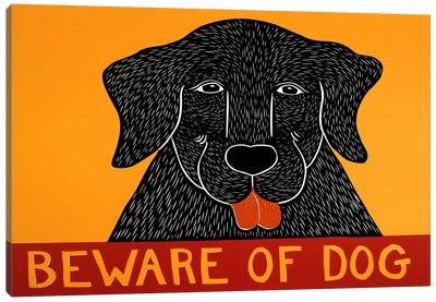 Beware of Dog Black Canvas Art Print