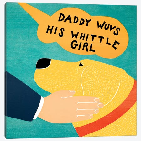 Daddy Wuvs His Wittle Girl Yellow Canvas Print #STH133} by Stephen Huneck Art Print