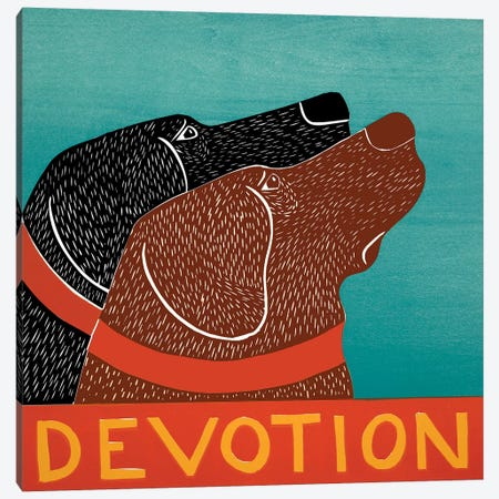 Devotion - Black, Choc Canvas Print #STH134} by Stephen Huneck Canvas Artwork