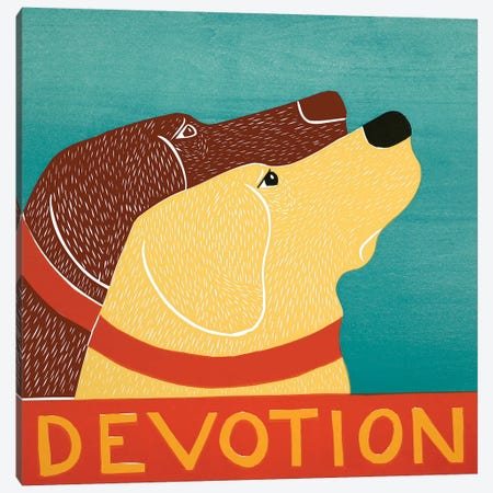 Devotion - Choc, Yellow Canvas Print #STH135} by Stephen Huneck Canvas Wall Art