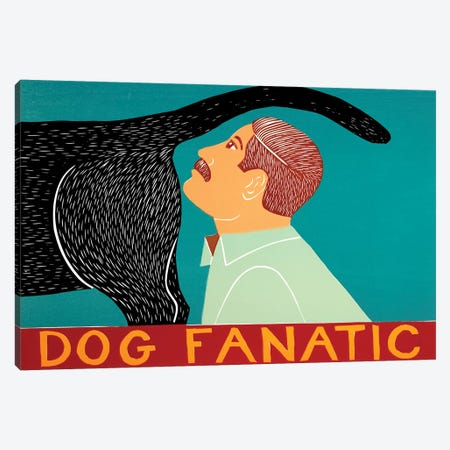 Dog Fanatic Black Canvas Print #STH137} by Stephen Huneck Canvas Wall Art
