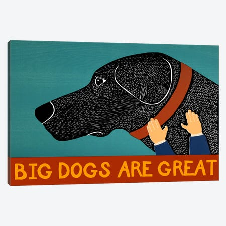 Big Dogs are Great Black Canvas Print #STH13} by Stephen Huneck Canvas Artwork