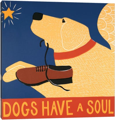Dogs Have A Soul, Yellow Canvas Art Print
