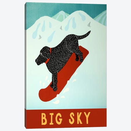 Big Sky Snowboard Black Canvas Print #STH14} by Stephen Huneck Art Print