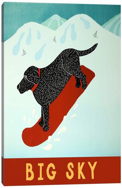 Big Sky Snowboard Black Canvas Print #STH14
