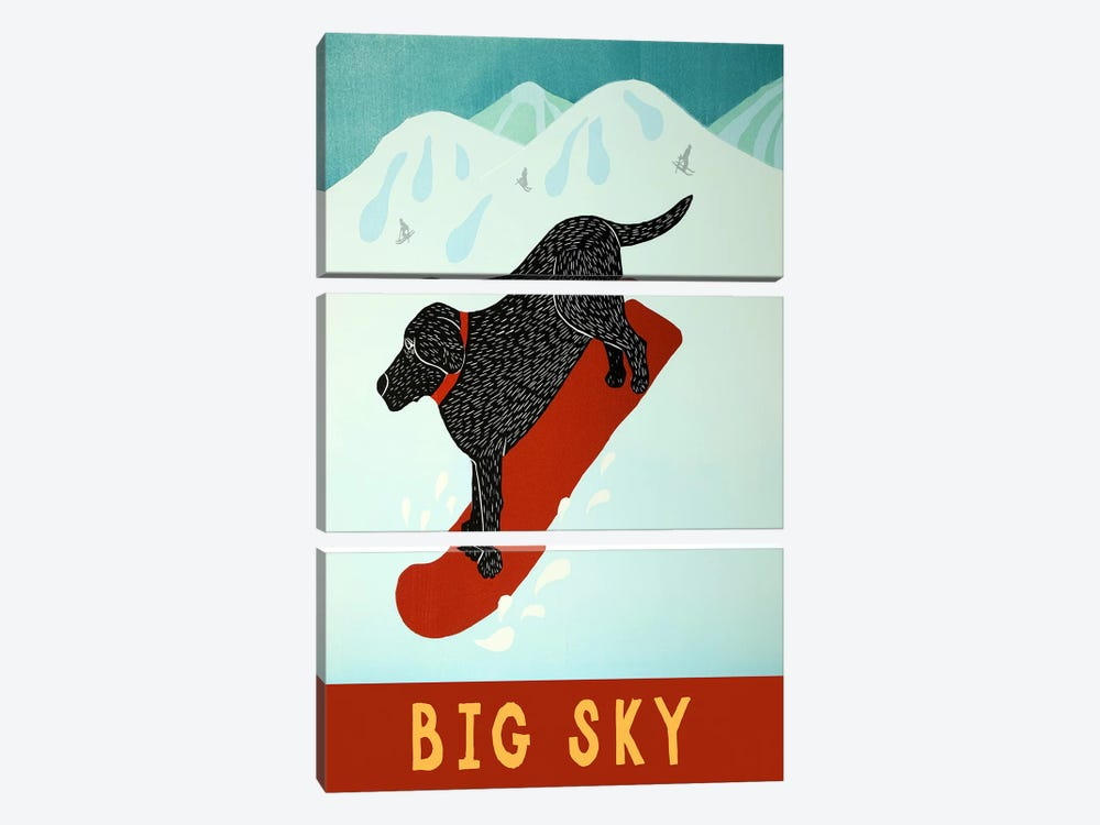 Big Sky Snowboard Black by Stephen Huneck 3-piece Canvas Wall Art
