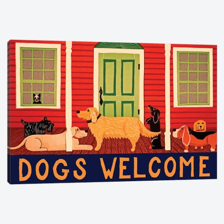 Dogs Welcome II Canvas Print #STH154} by Stephen Huneck Canvas Wall Art