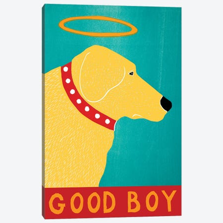 Good Boy, Yellow Canvas Print #STH169} by Stephen Huneck Canvas Art