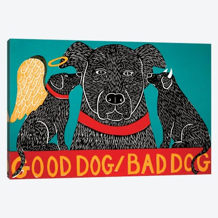 Good Dog Bad Dog, Black Canvas Print #STH170} by Stephen Huneck Canvas Art Print