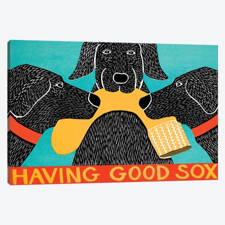 Having Good Sox, Black Canvas Print #STH174} by Stephen Huneck Canvas Artwork