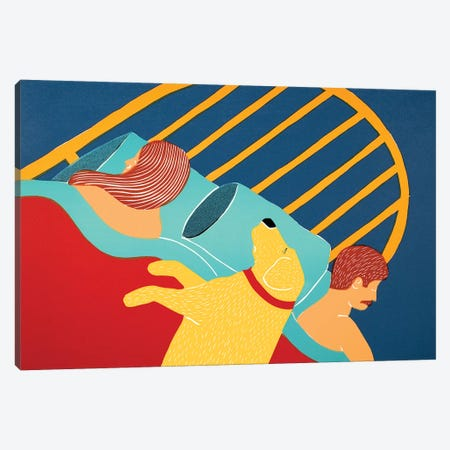Hogging The Bed, Yellow Canvas Print #STH175} by Stephen Huneck Canvas Art