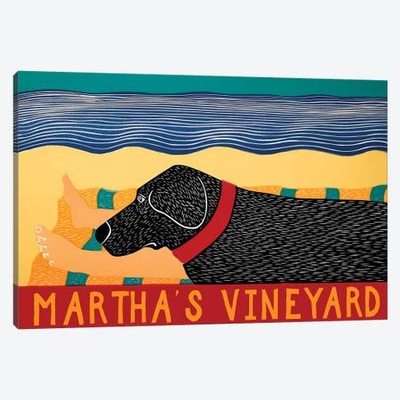 Life Is A Beach, Vineyard, Black Canvas Print #STH188} by Stephen Huneck Canvas Wall Art